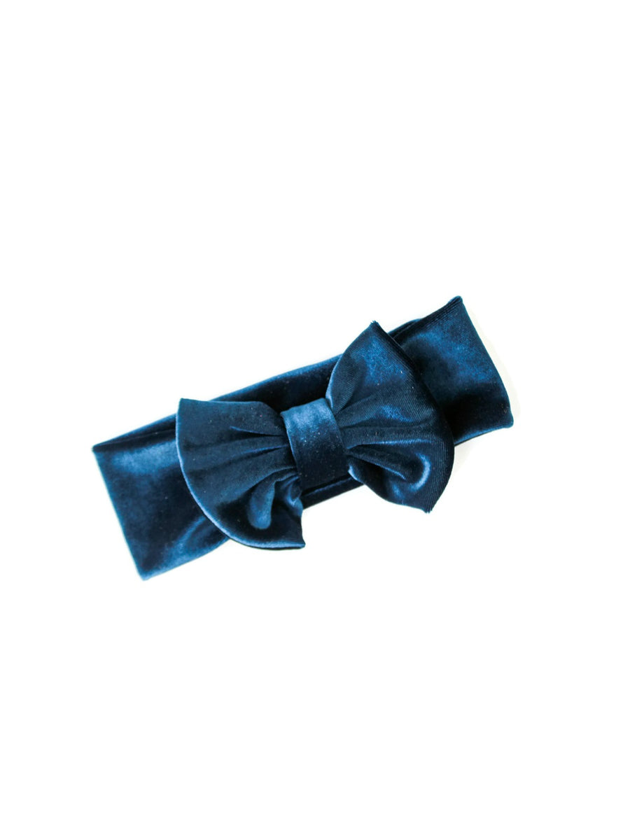 deep teal blue velvet bow headband