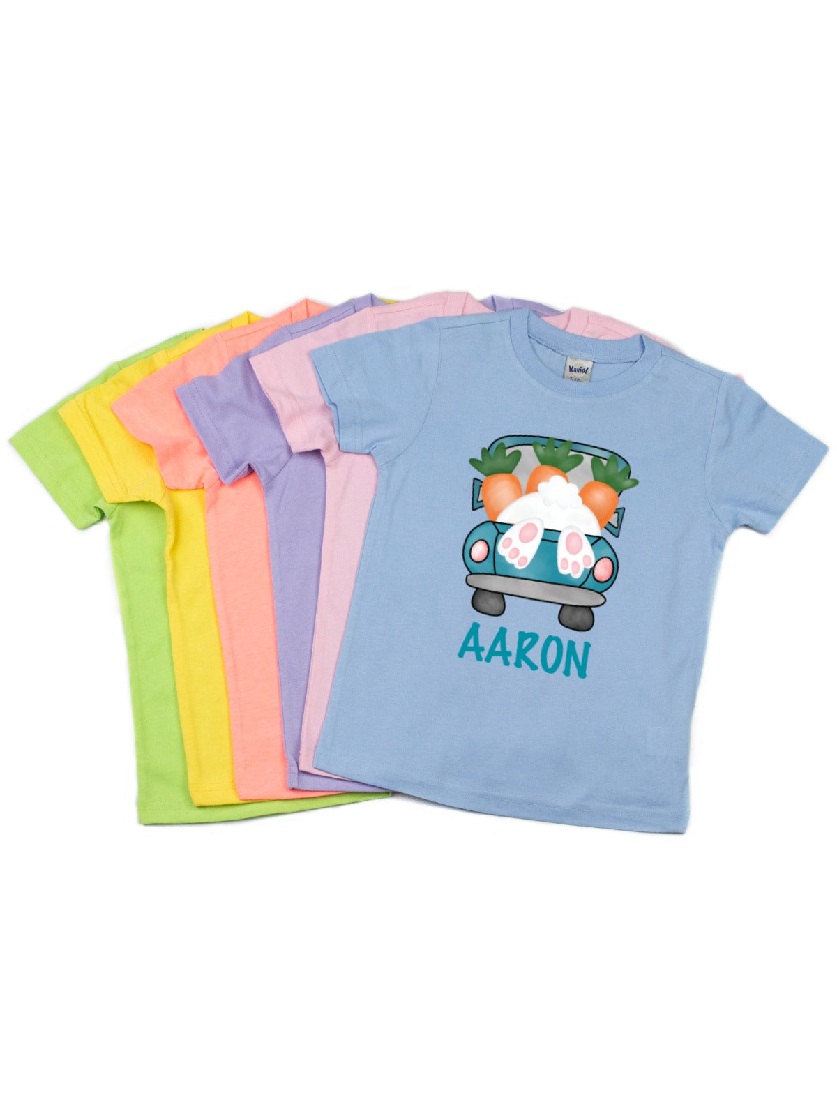 1dea495f kids Easter bunny truck t-shirts in spring colors