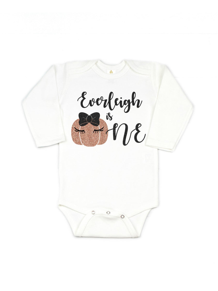 girls personalized one pumpkin rose gold birthday outfit