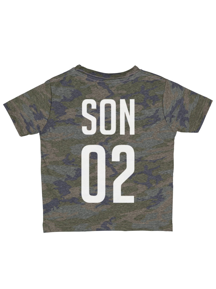 personalized kids vintage camo jersey tee