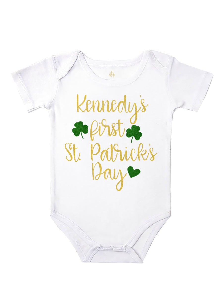 personalized first st patrick's day bodysuit for baby girls