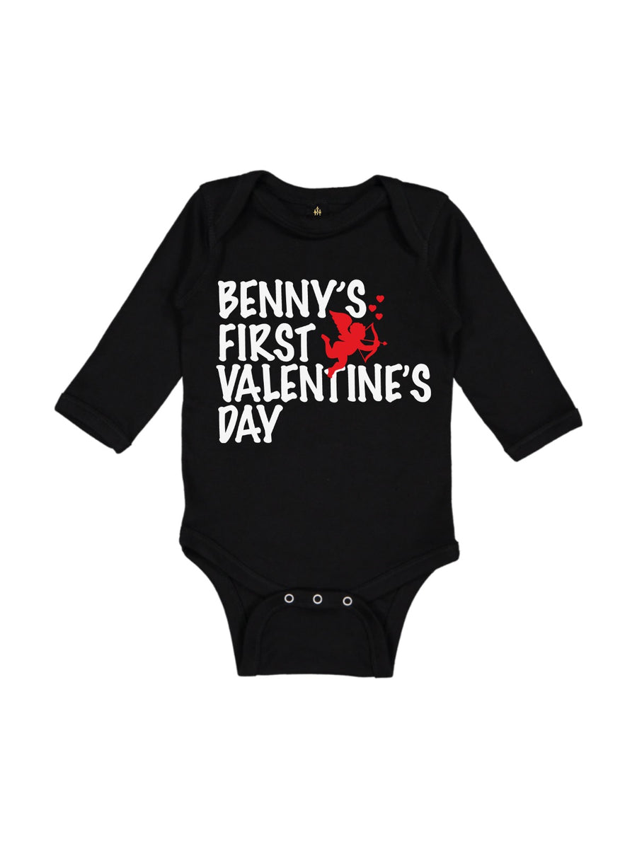 boys first valentine's day bodysuit