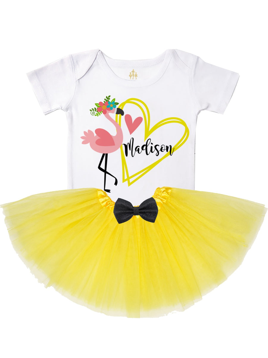Personalized Flamingo Heart Tutu Outfit in Yellow