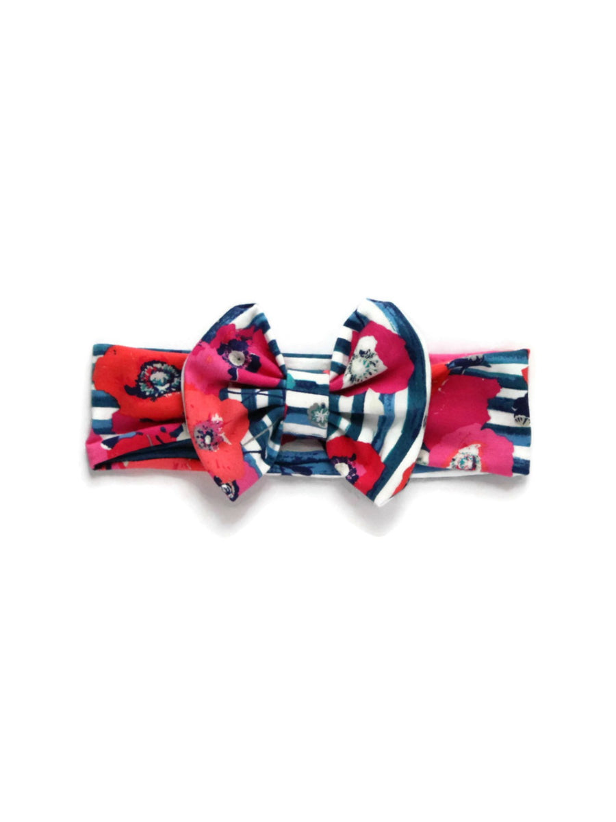Bow Headband - Flowers & Stripes