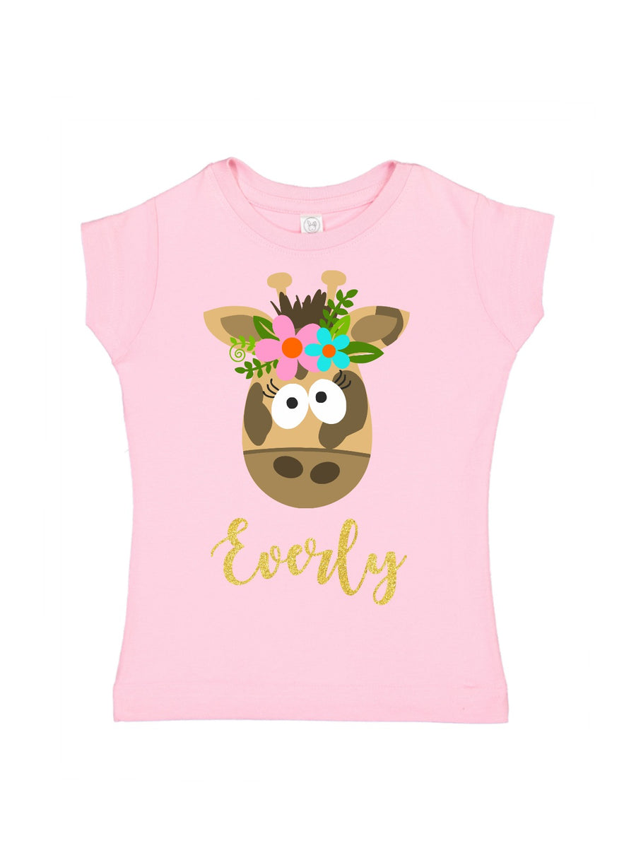 personalized girl giraffe shirt