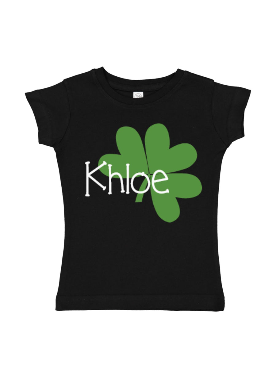 girl's 4 leaf clover st patty's day t-shirt