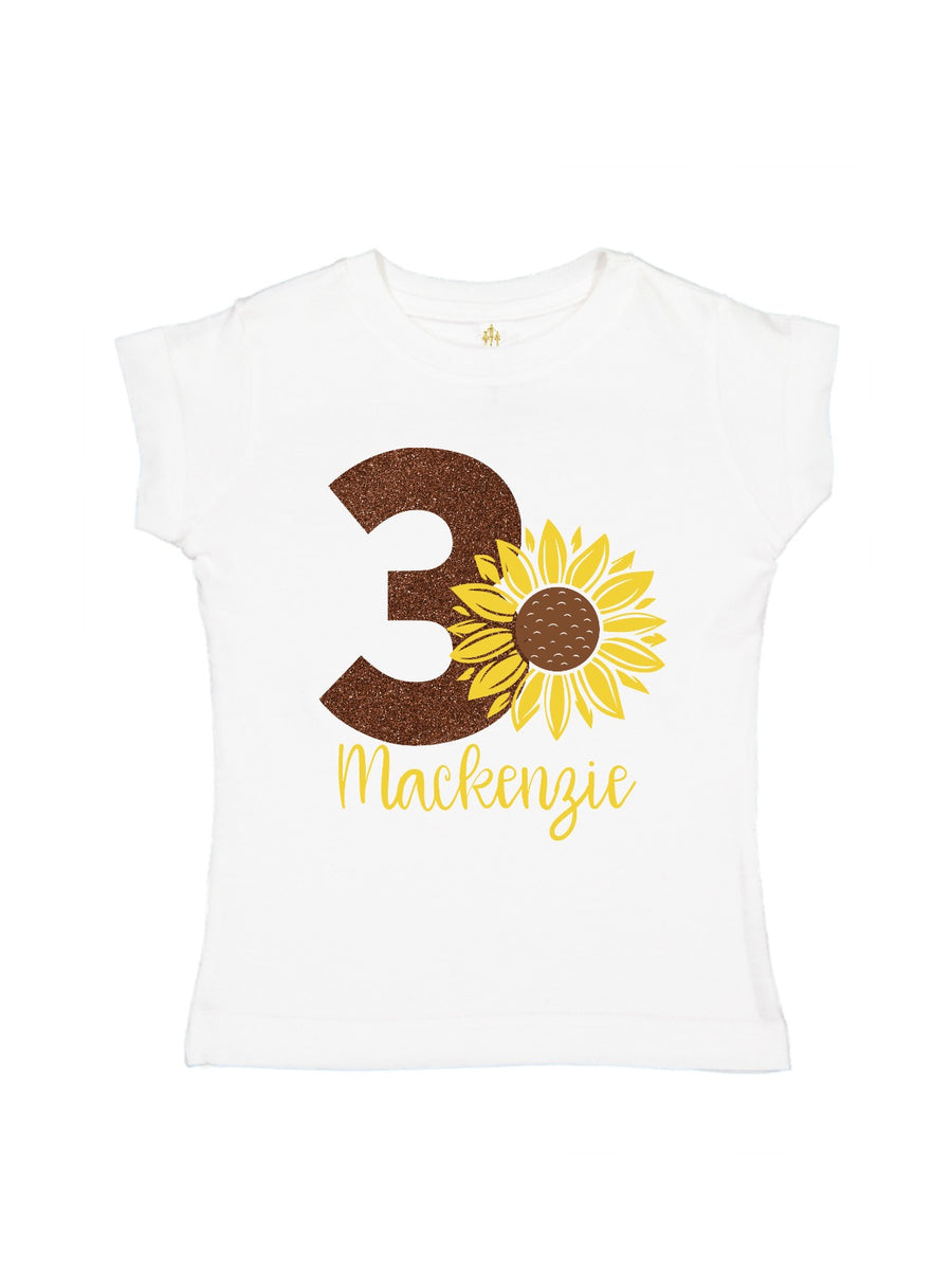 girls personalized birthday sunflower shirt