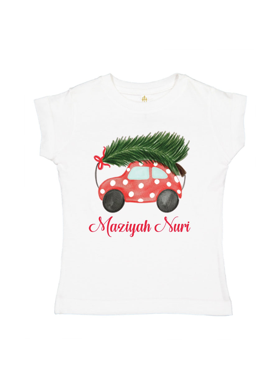 girls polka dot vintage car christmas tree picking shirt