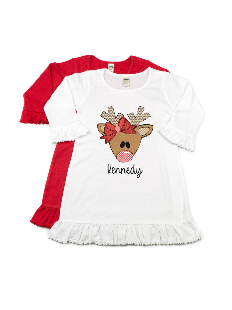 girls personalized reindeer with bow Christmas dress