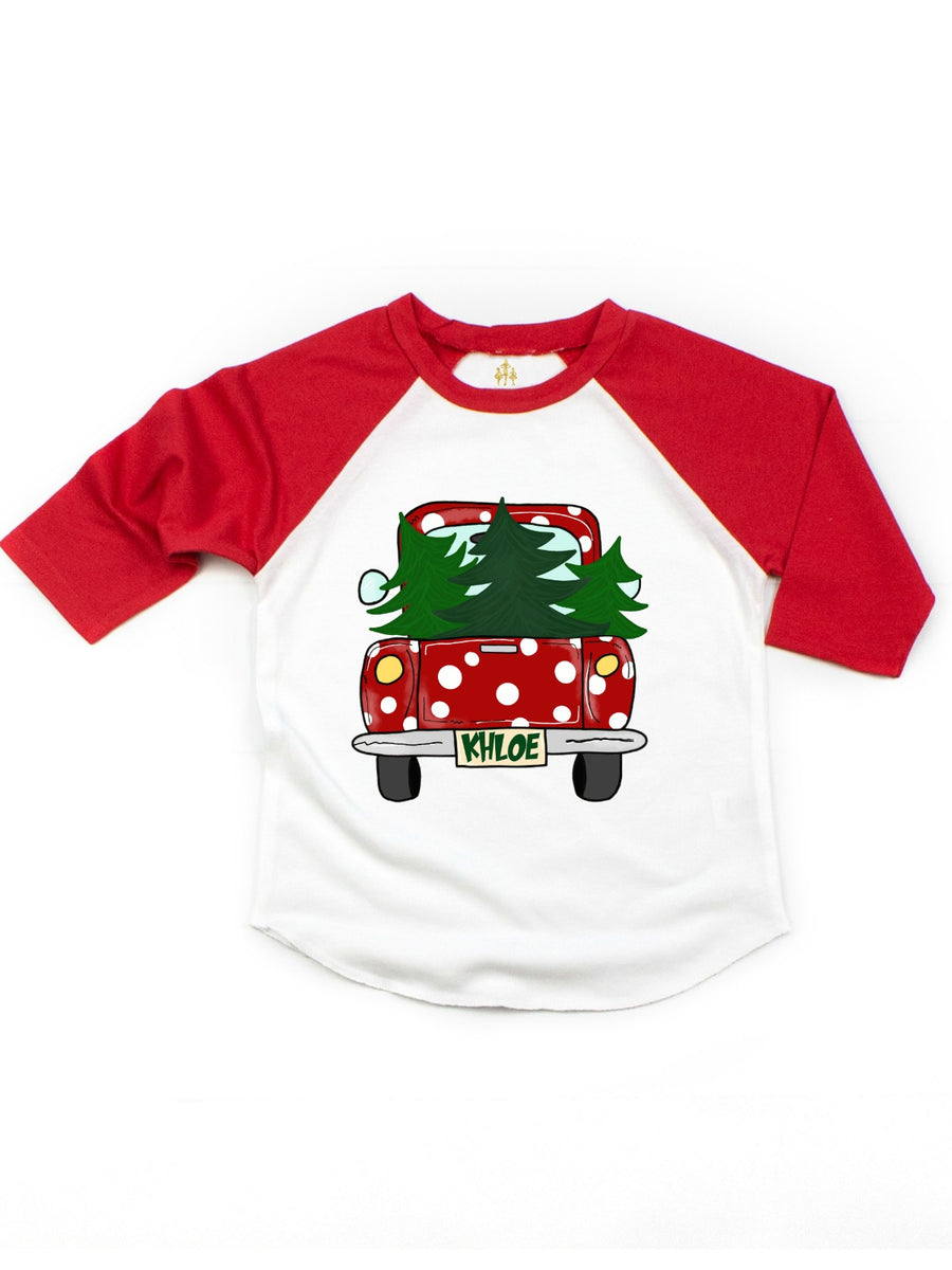 kids polka dot Christmas tree raglan t-shirt