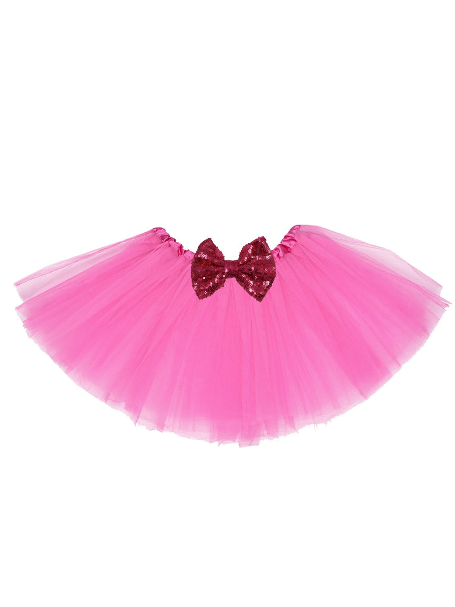 girls pink tutu with hot pink sequin bow