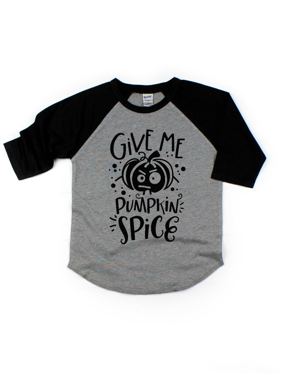 give me pumpkin space kids raglan shirt