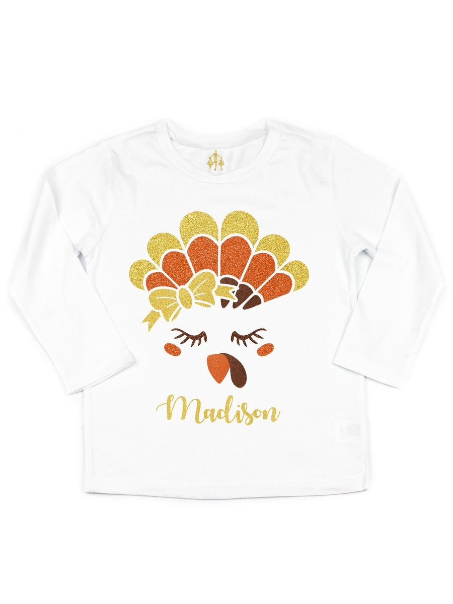 personalized girls thanksgiving shirt