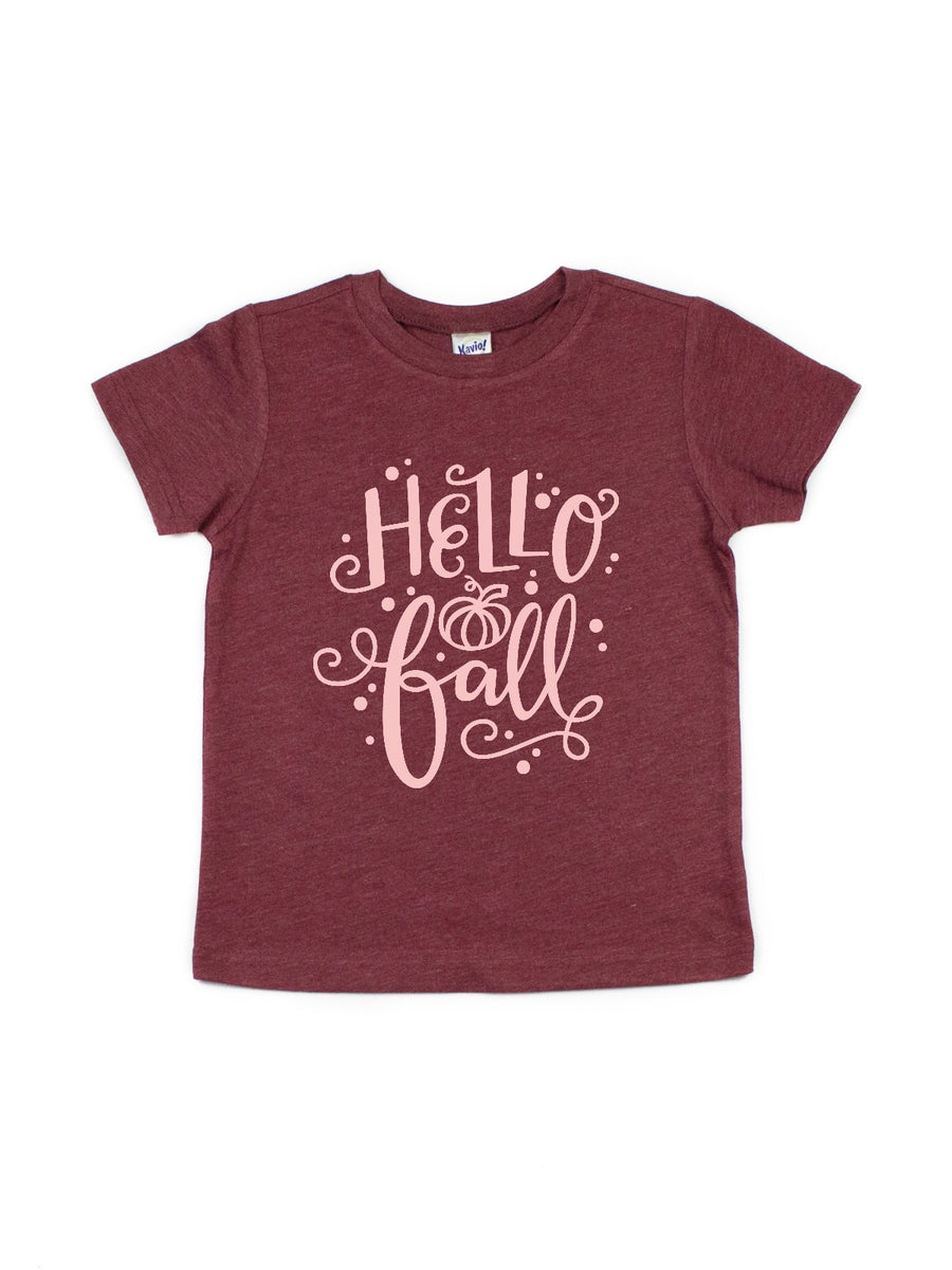 hello fall kids burgundy shirt
