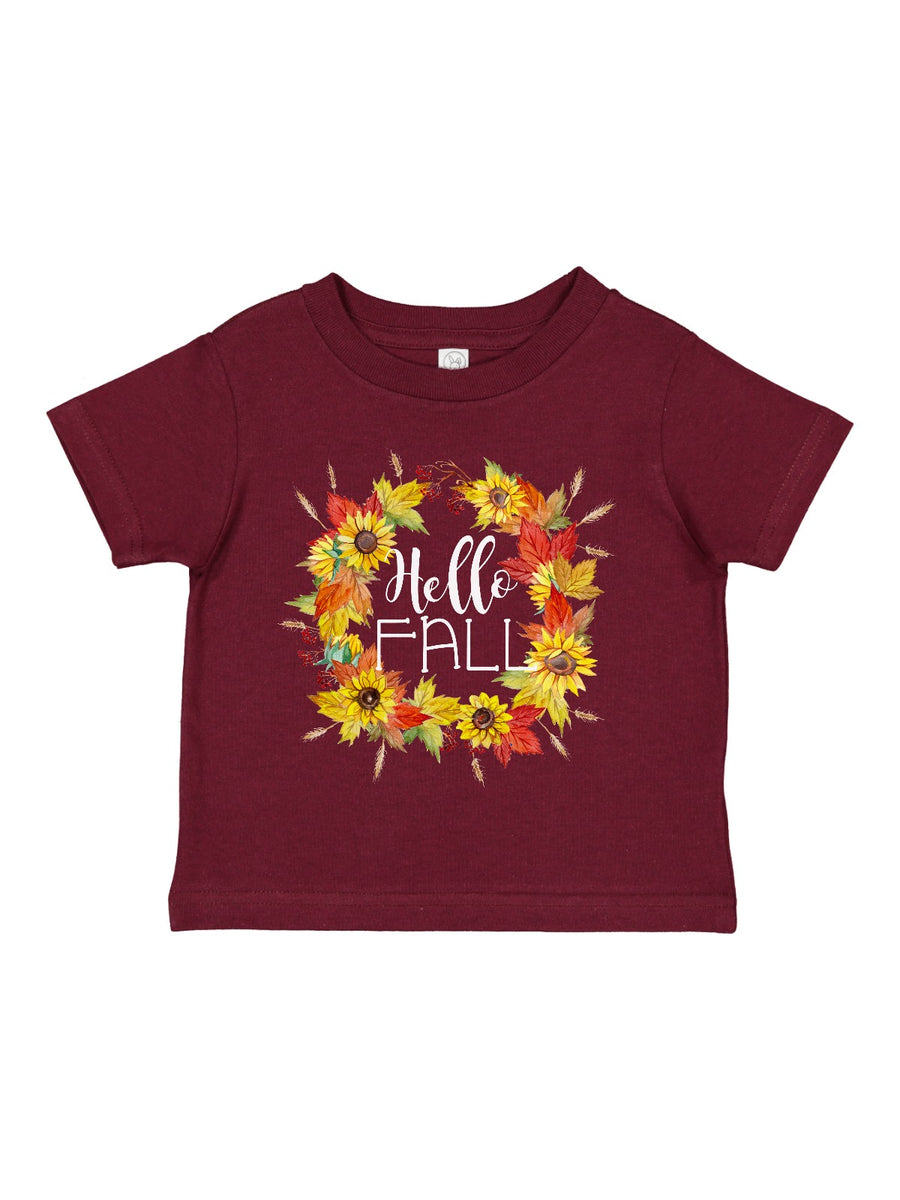 hello fall sunflower wreath kids shirt