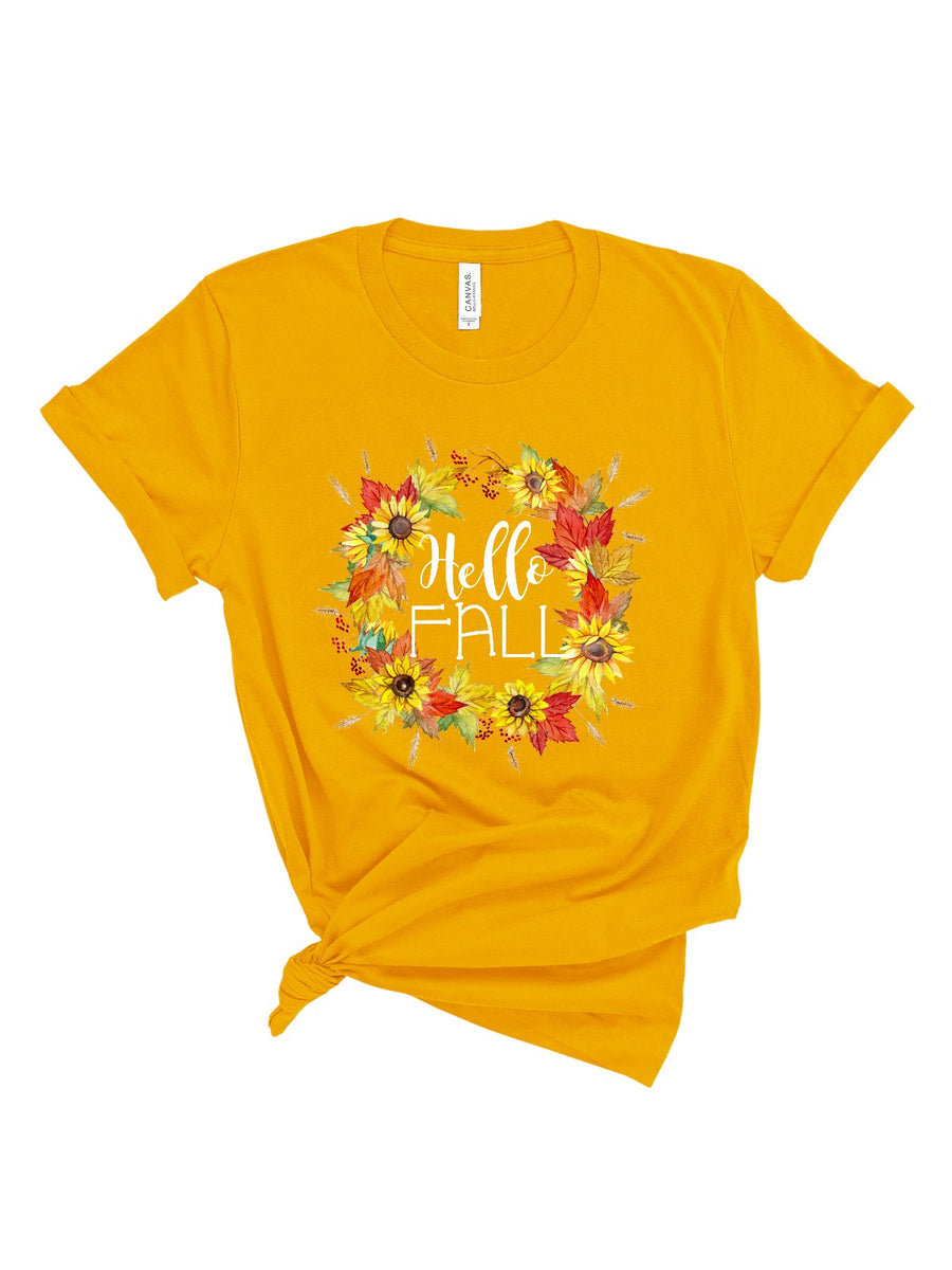 Hello Fall Women's Mustard T-Shirt