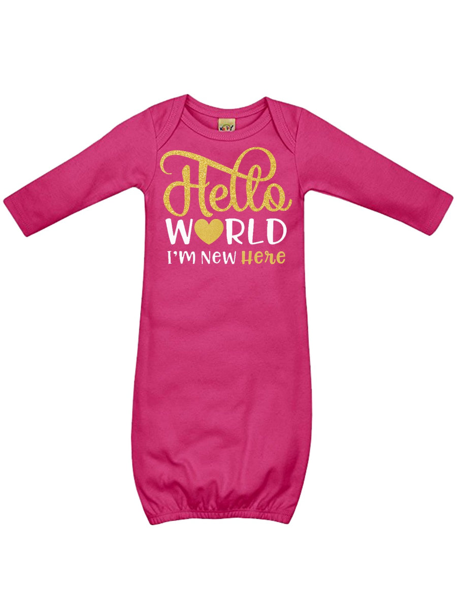 Hello World Personalized Baby Sleep Gown in Pink