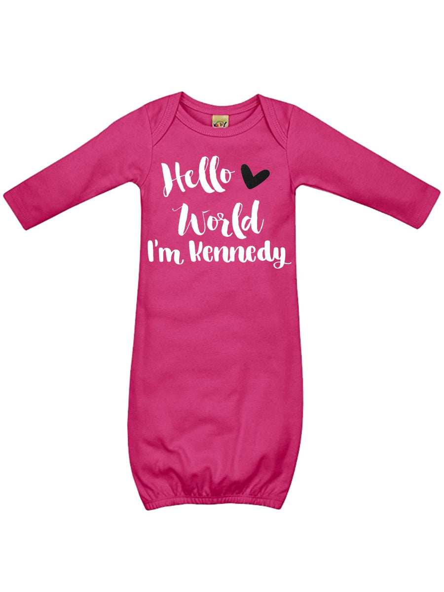 Hello World Personalized Sleep Gown, Pink White and Black