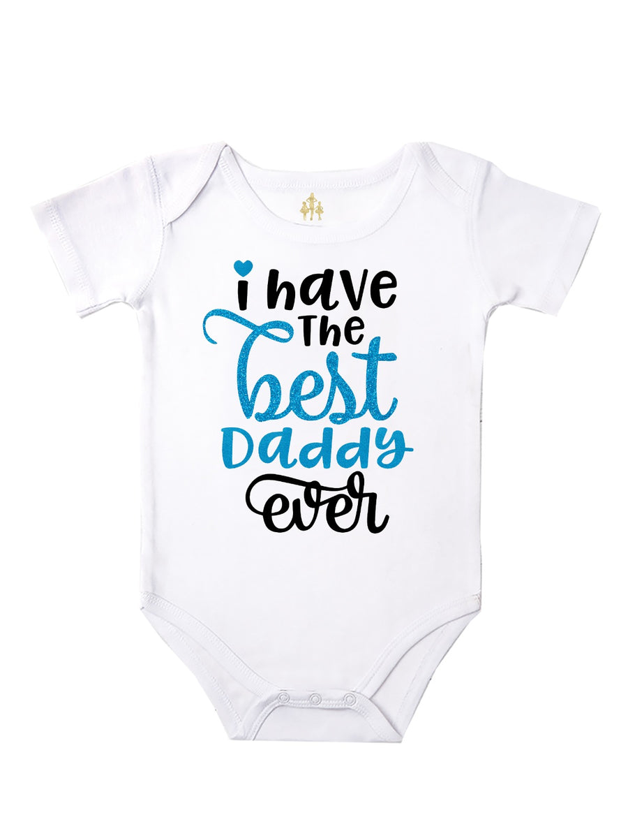 I Have The Best Daddy Ever Baby Girl Bodysuit - Black and Blue