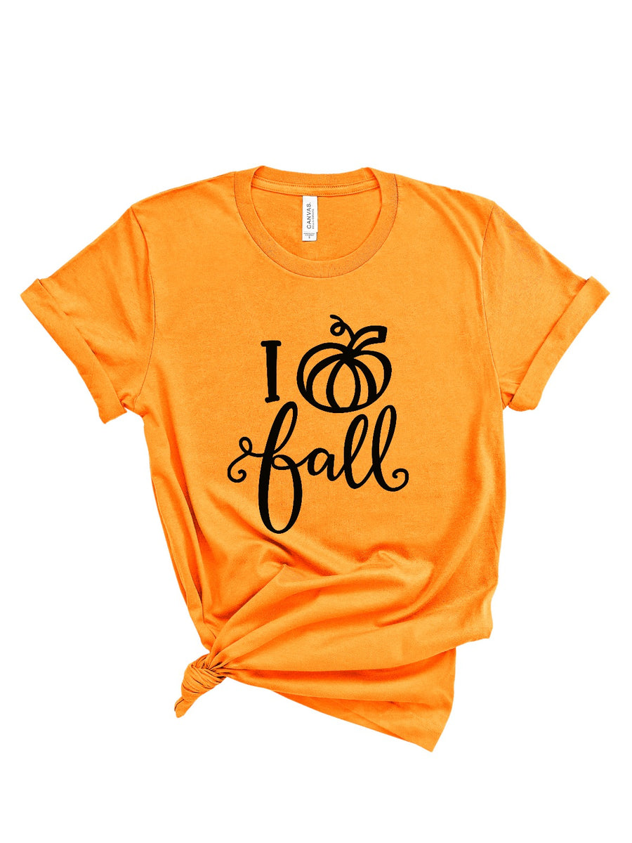 I love fall women's orange pumpkin shirt