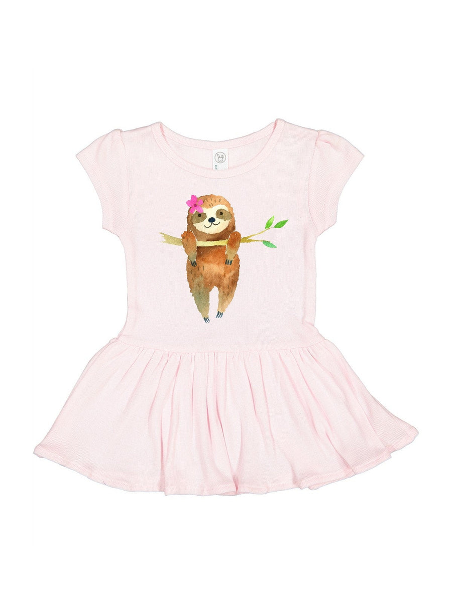 girls black dress with sleeping sloth and pink flower