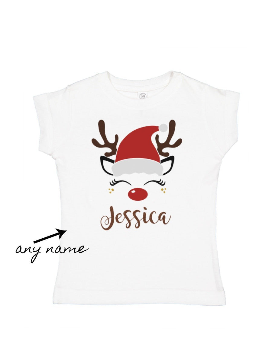 girls reindeer in a santa hat personalized t-shirt