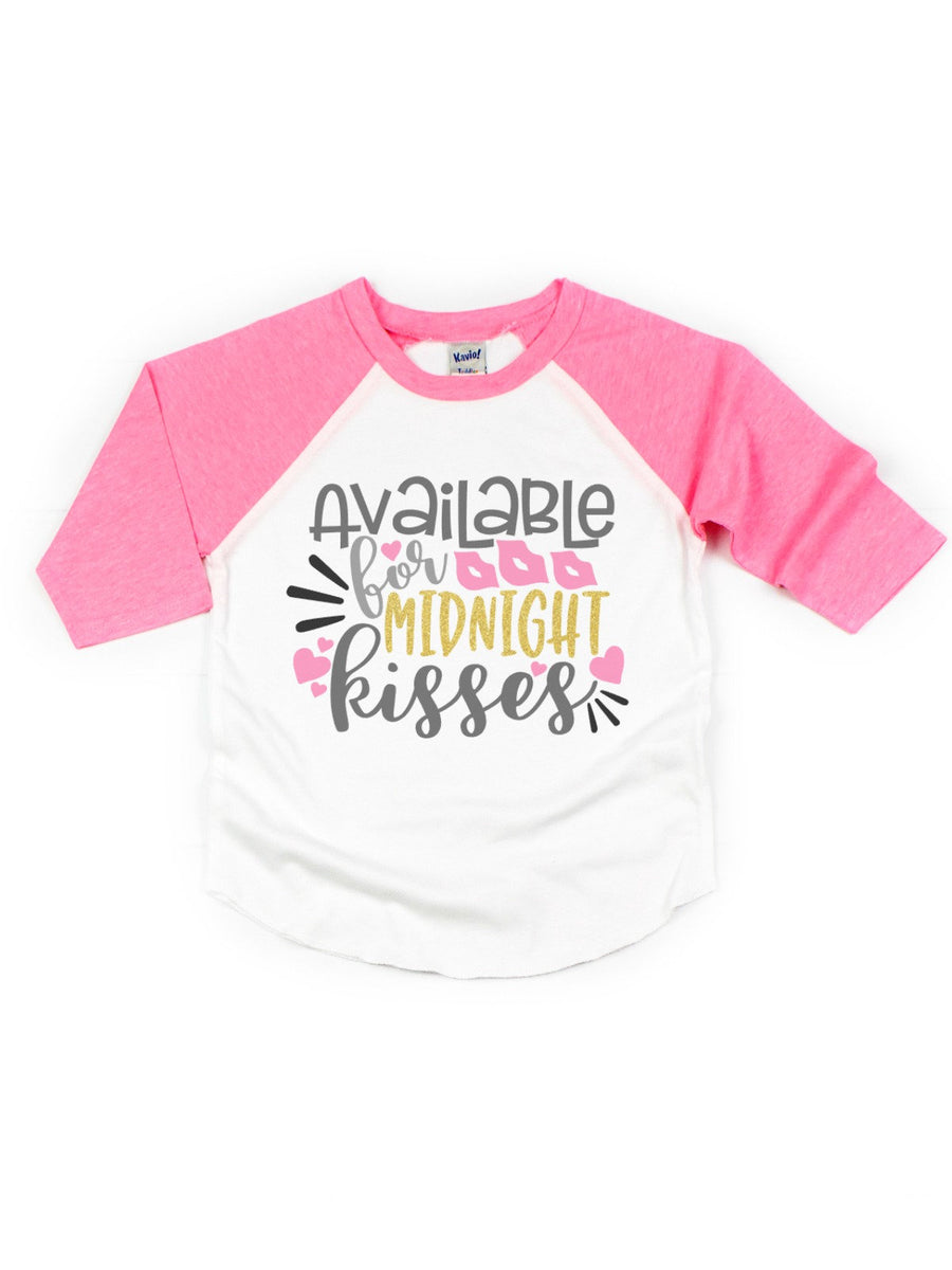 available for midnight kisses girl's new years raglan t-shirt