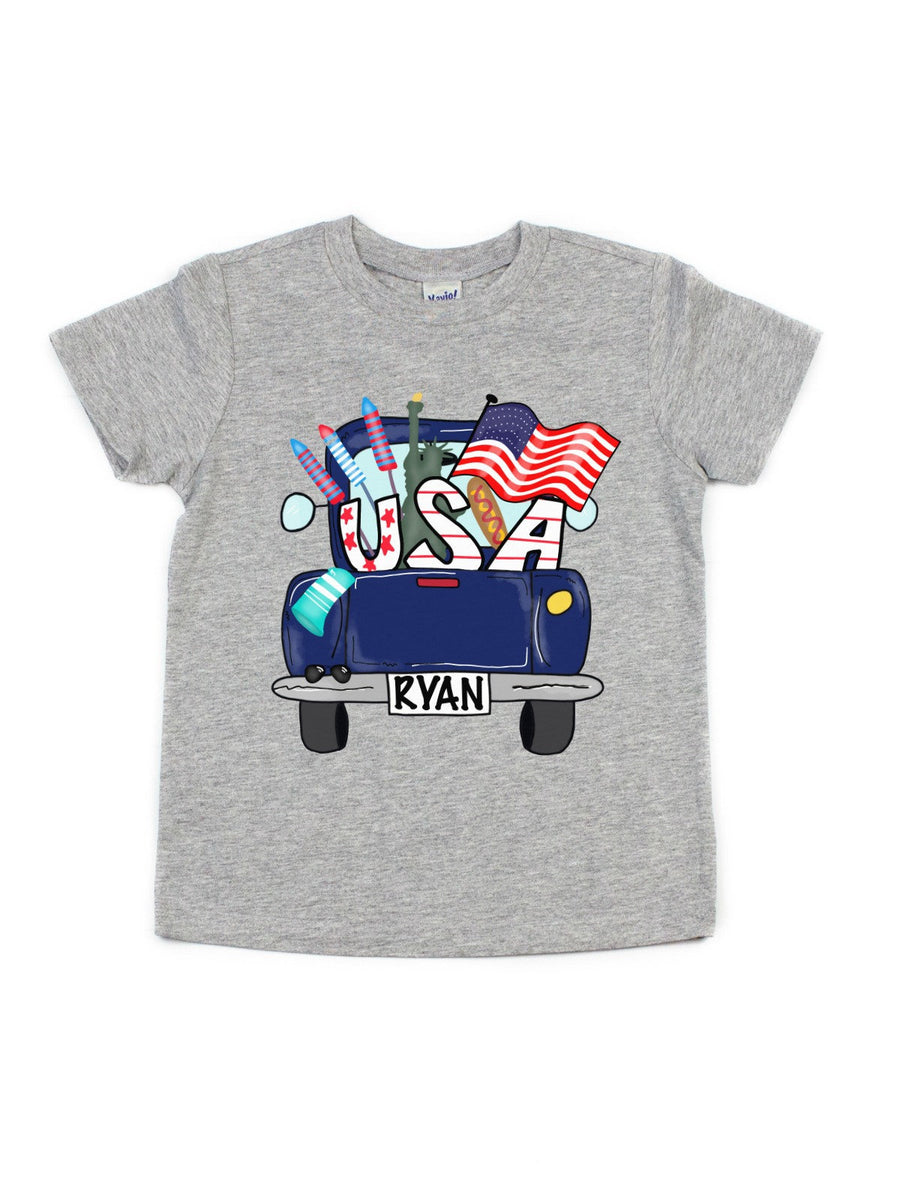 USA personalized blue truck boys shirt