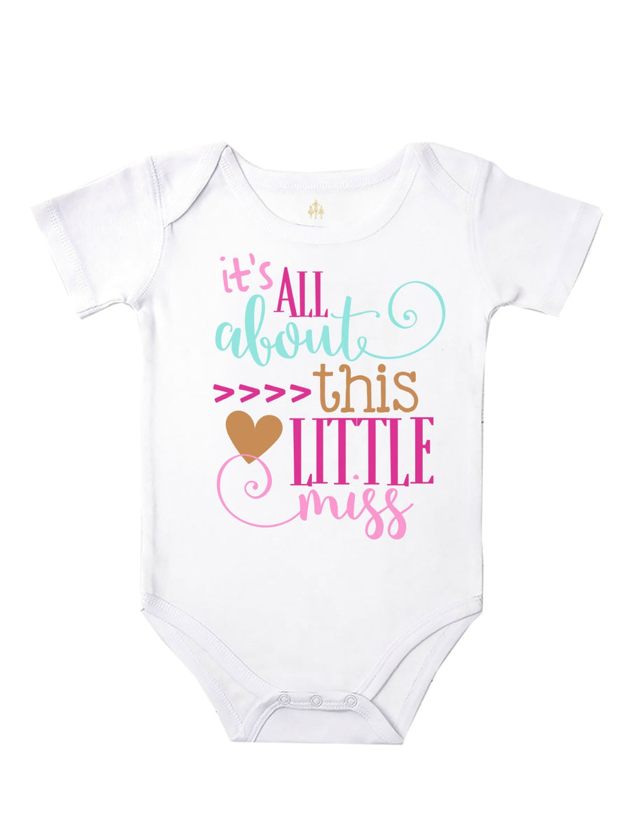 It's all about this little miss baby girl bodysuit in white