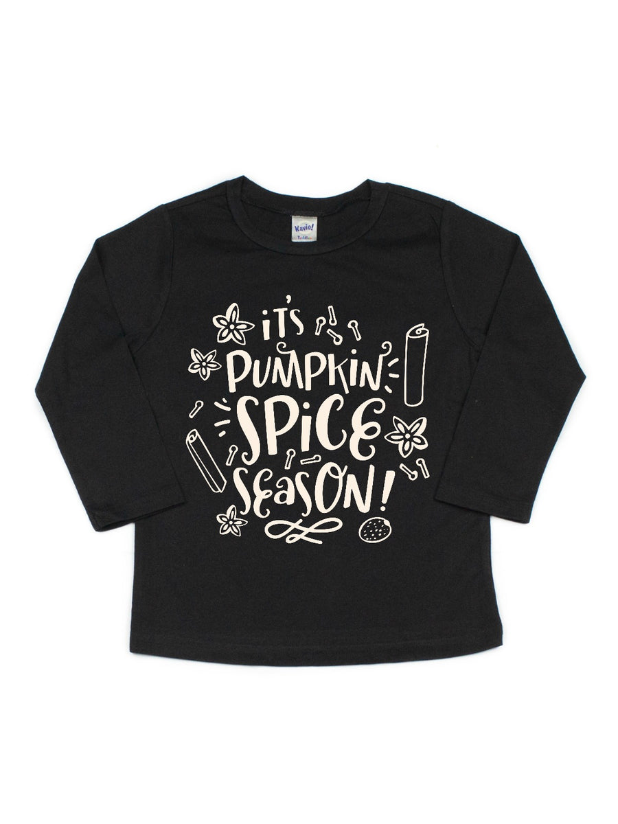 it's pumpkin spice season kids black shirt