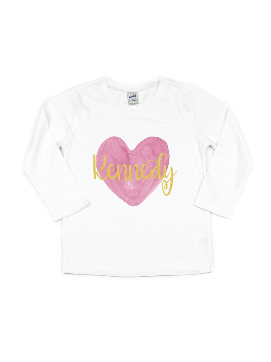 Girl's Personalized Heart T-Shirt