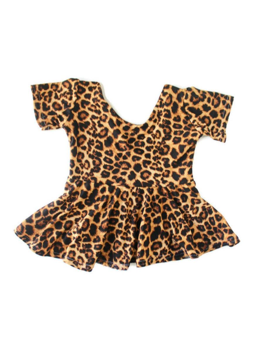 girls leopard peplum top