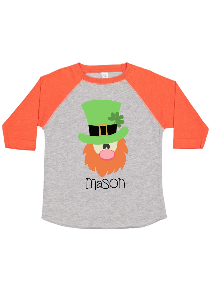 boys personalized leprechaun raglan t-shirt