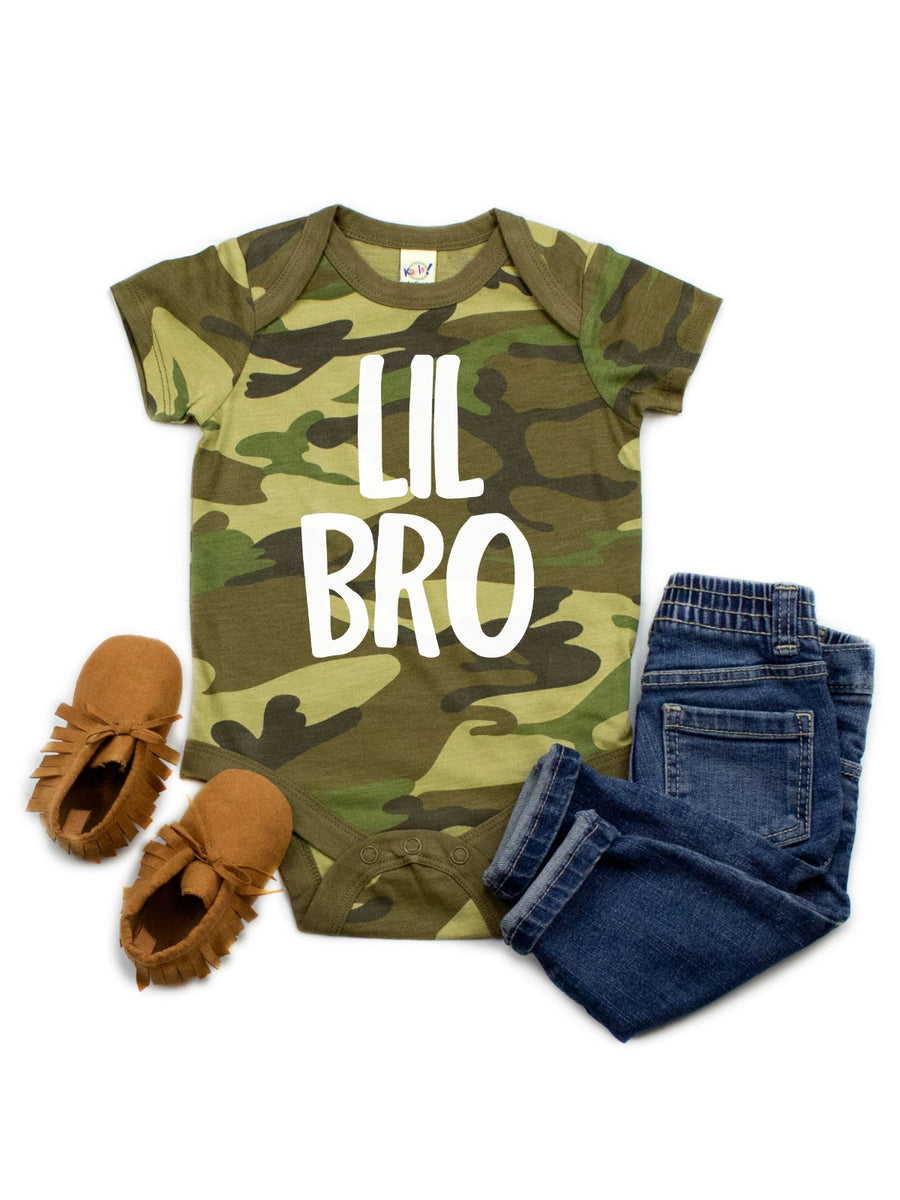 lil bro camouflage baby bodysuit