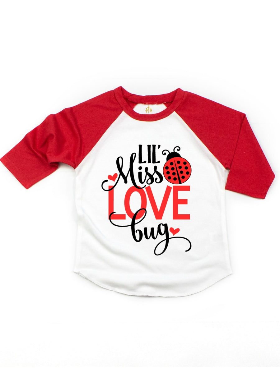 lil miss love bug girls valentine's day t-shirt