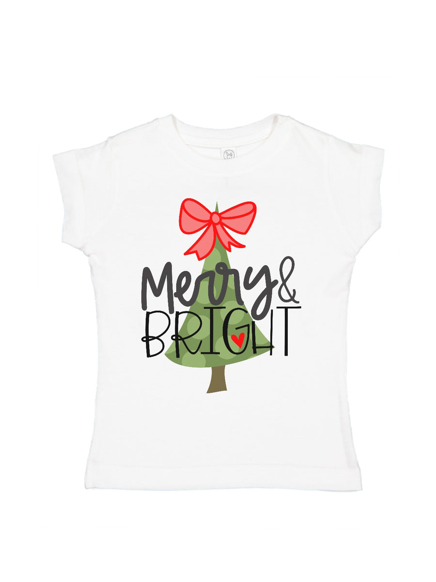 merry and bright girl's t-shirt