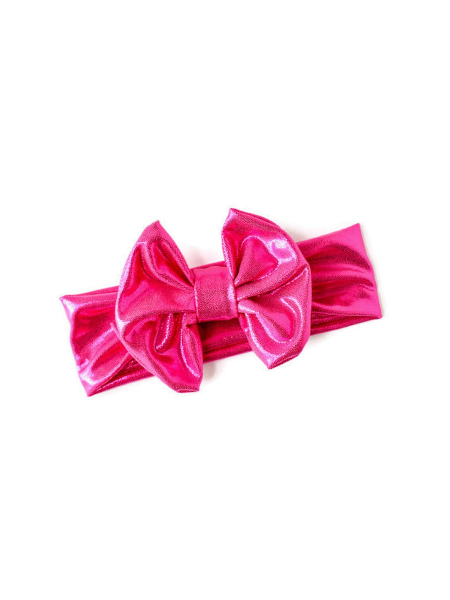 Bow Headband - Metallic Pink