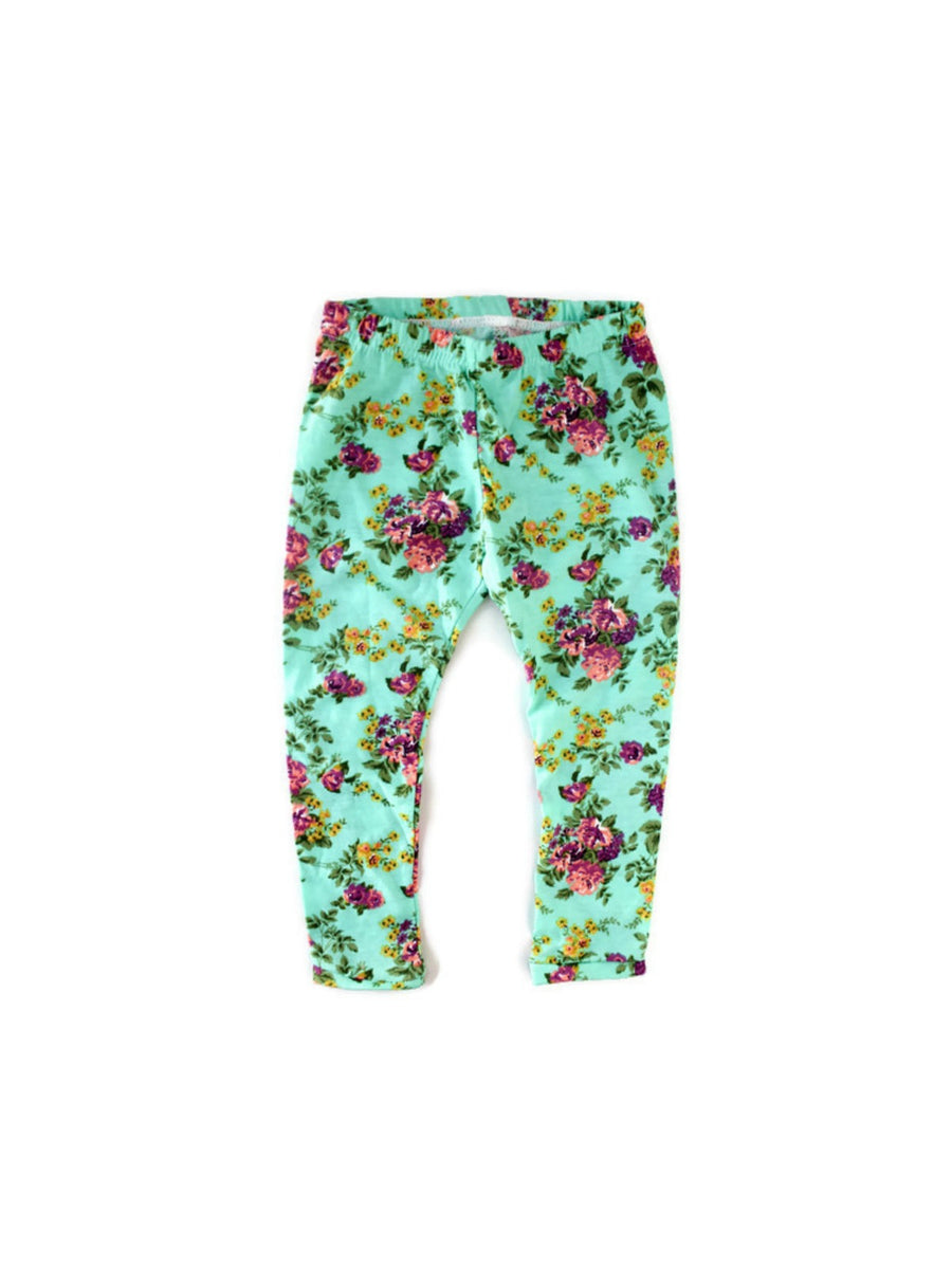 Mint Floral Leggings
