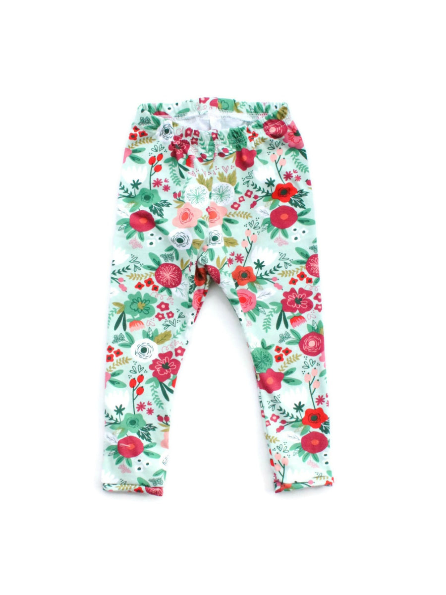 mint green flower leggings for baby girls