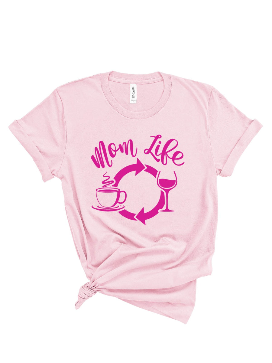 mom life equals coffee and whine womens tee in pink
