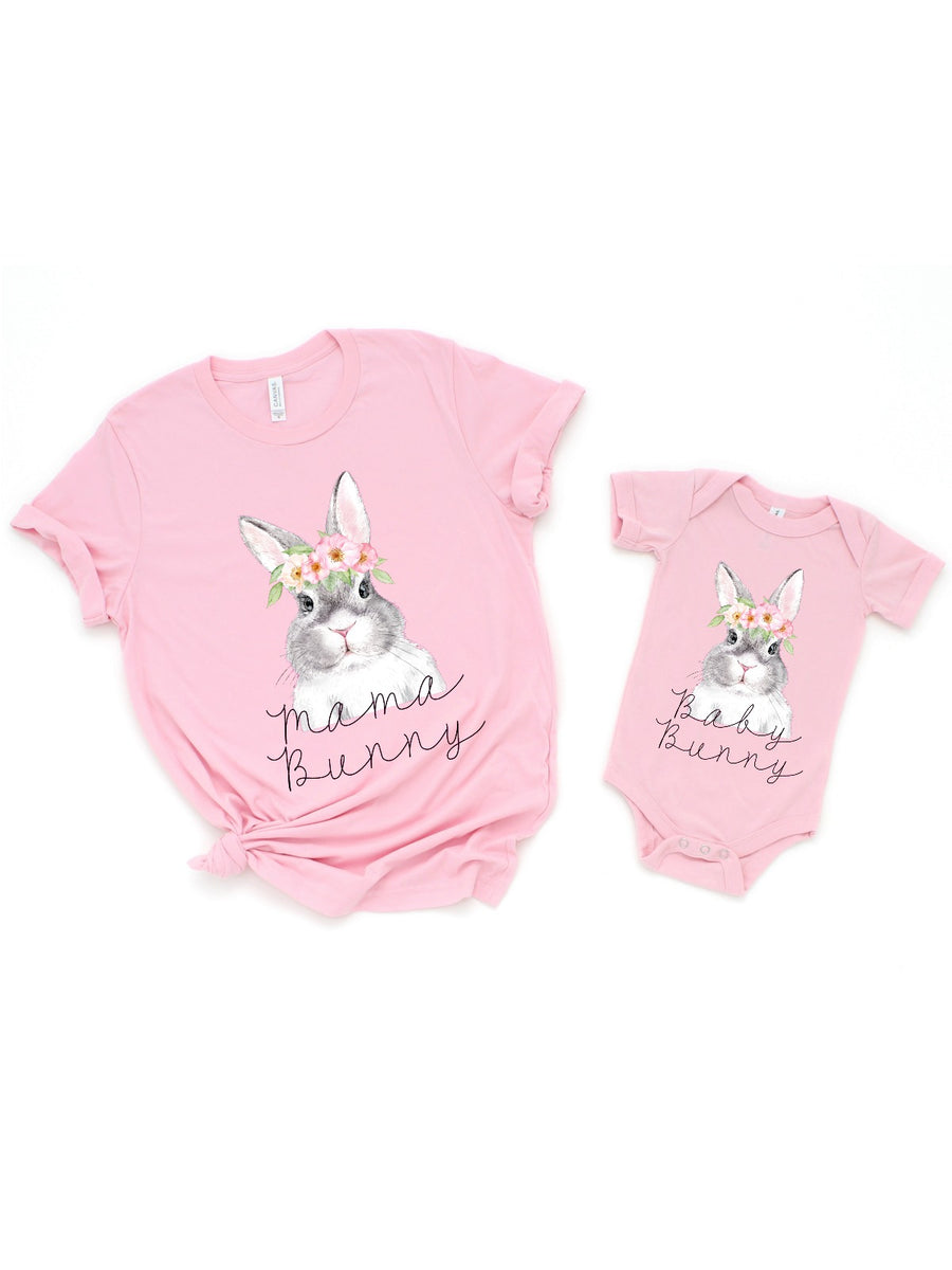mama bunny baby bunny matching mommy and me easter shirts