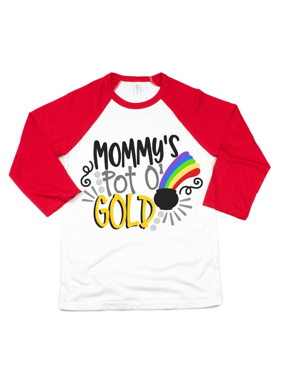 mommy's pot of gold raglan tee for kids