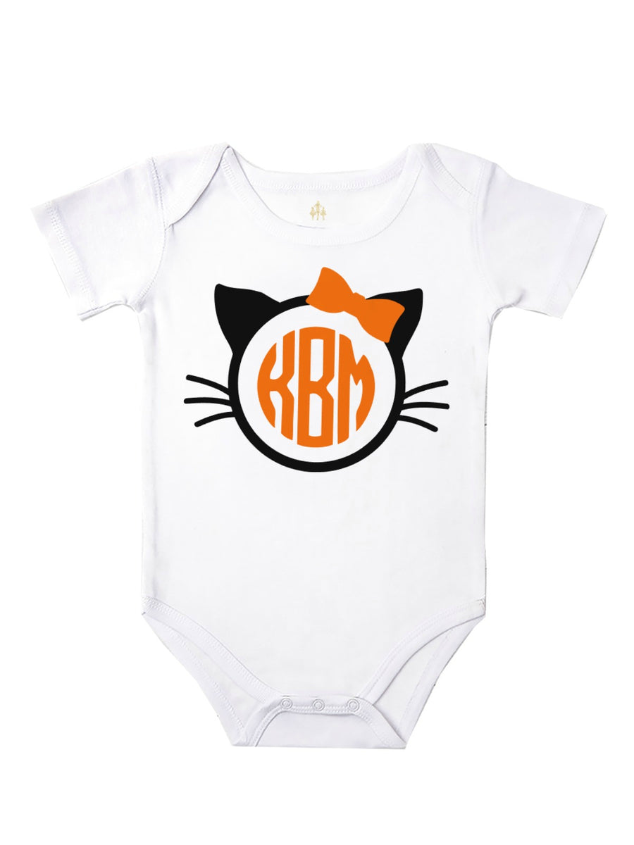 baby girl monogram kitty ears bodysuit