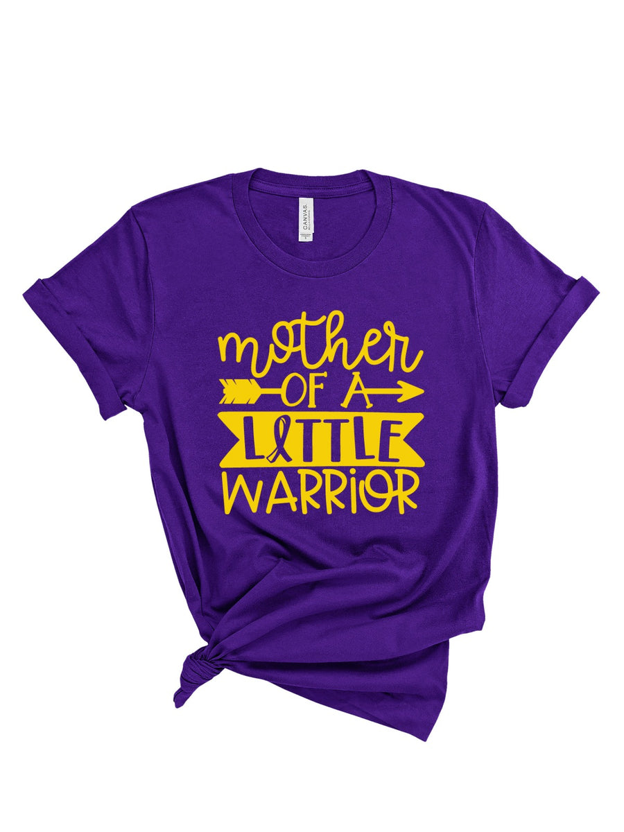 Mother of a Little Warrior - Purple & Gold Tee