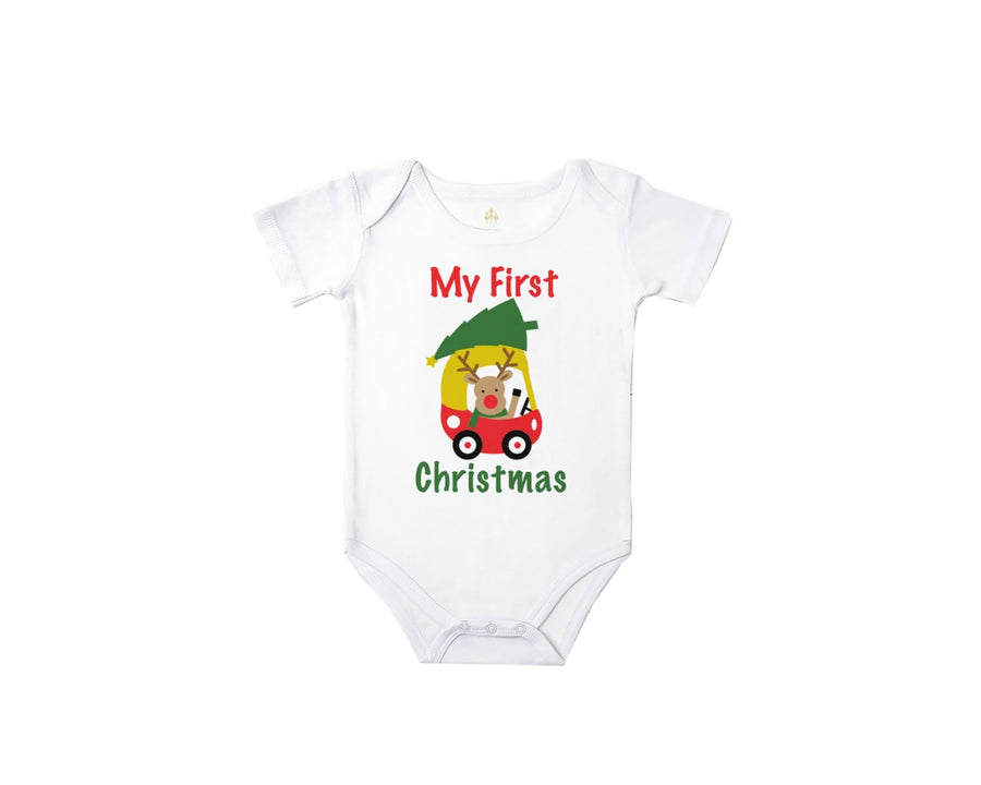 my first christmas reindeer baby bodysuit