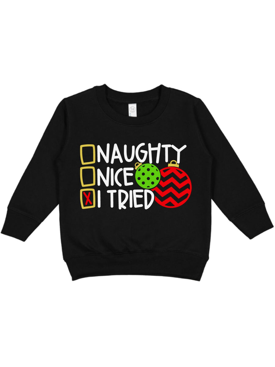 naughty, nice, I tried kids christmas sweatshirt