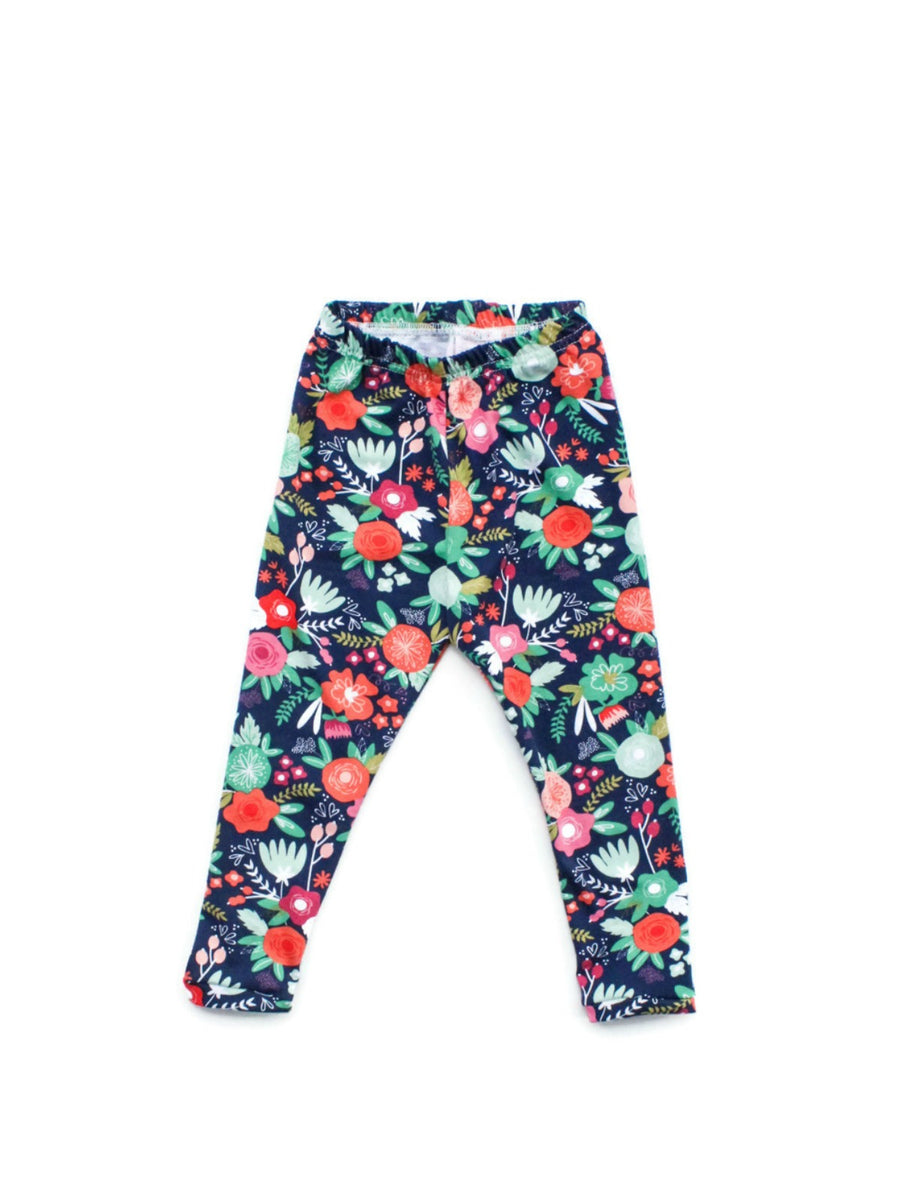 navy and orange floral girl leggings