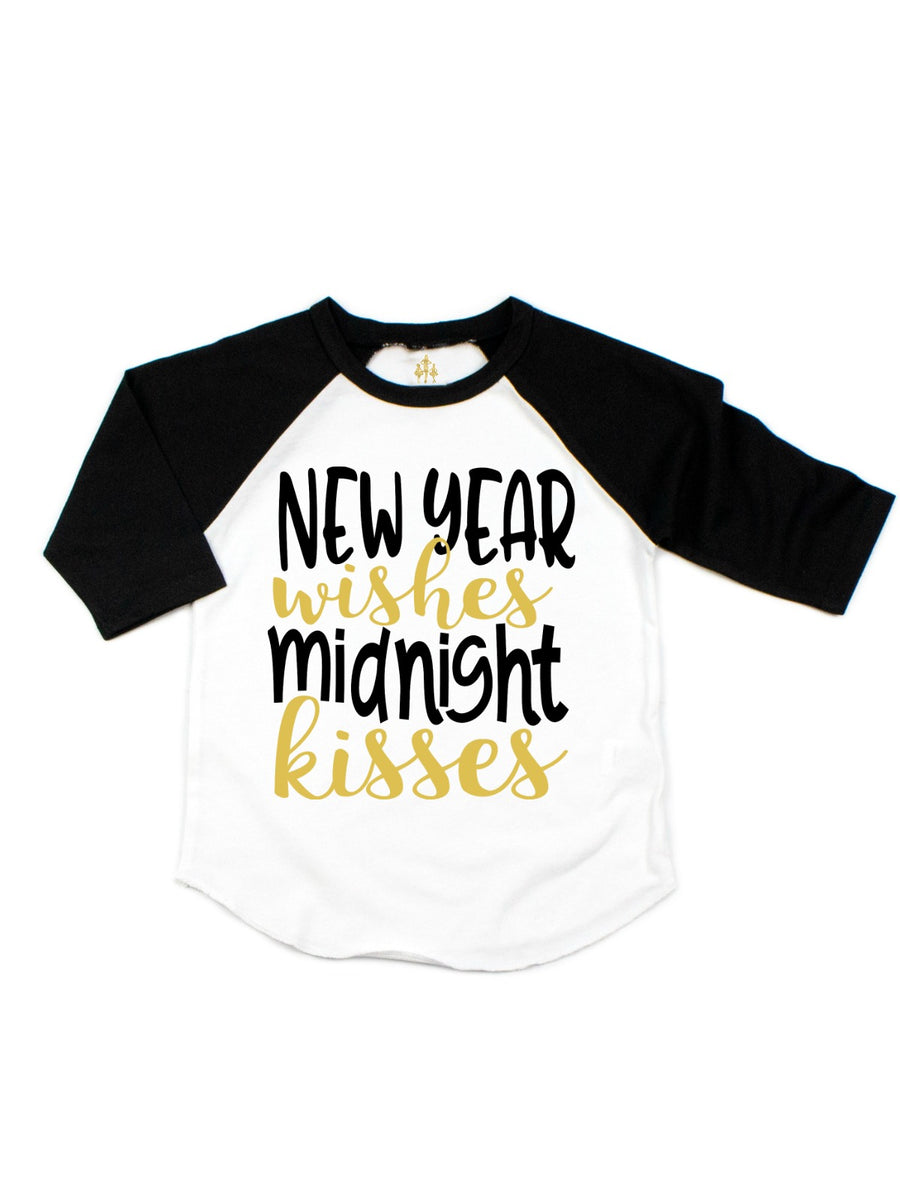 New Year Wishes Midnight Kisses Kid's Raglan T-Shirt
