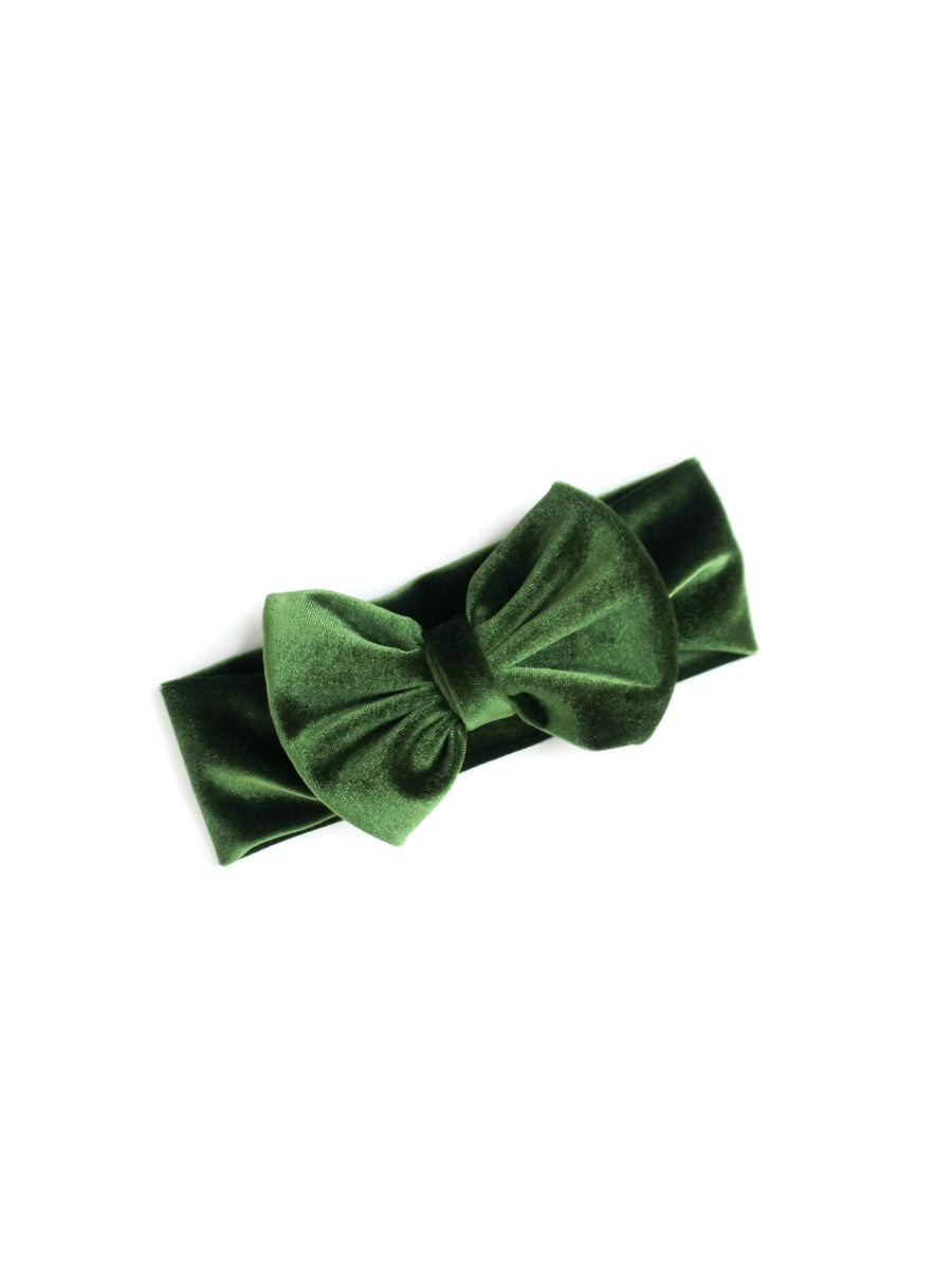 olive green big bow headband