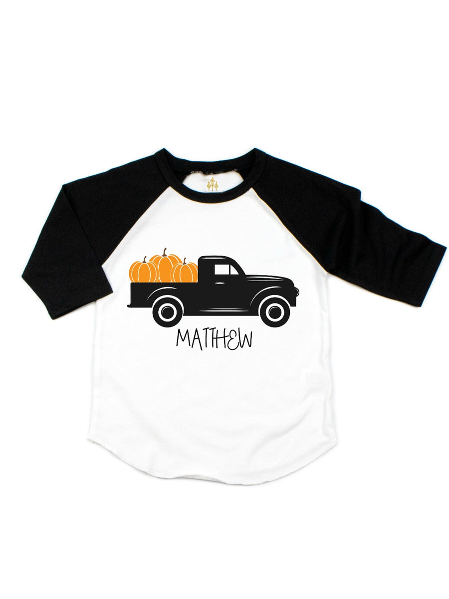 personalized kids fall truck pumpkin shirt